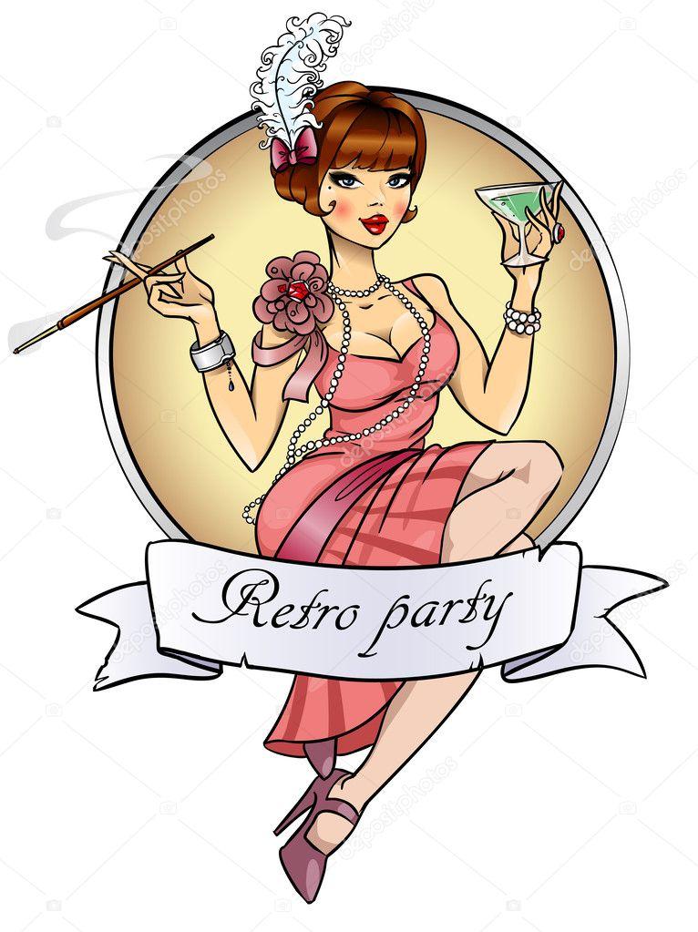 Retro party invitation card
