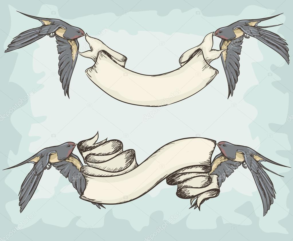 ᐈ Bird Holding Scroll Tattoo Stock Vectors Royalty Free