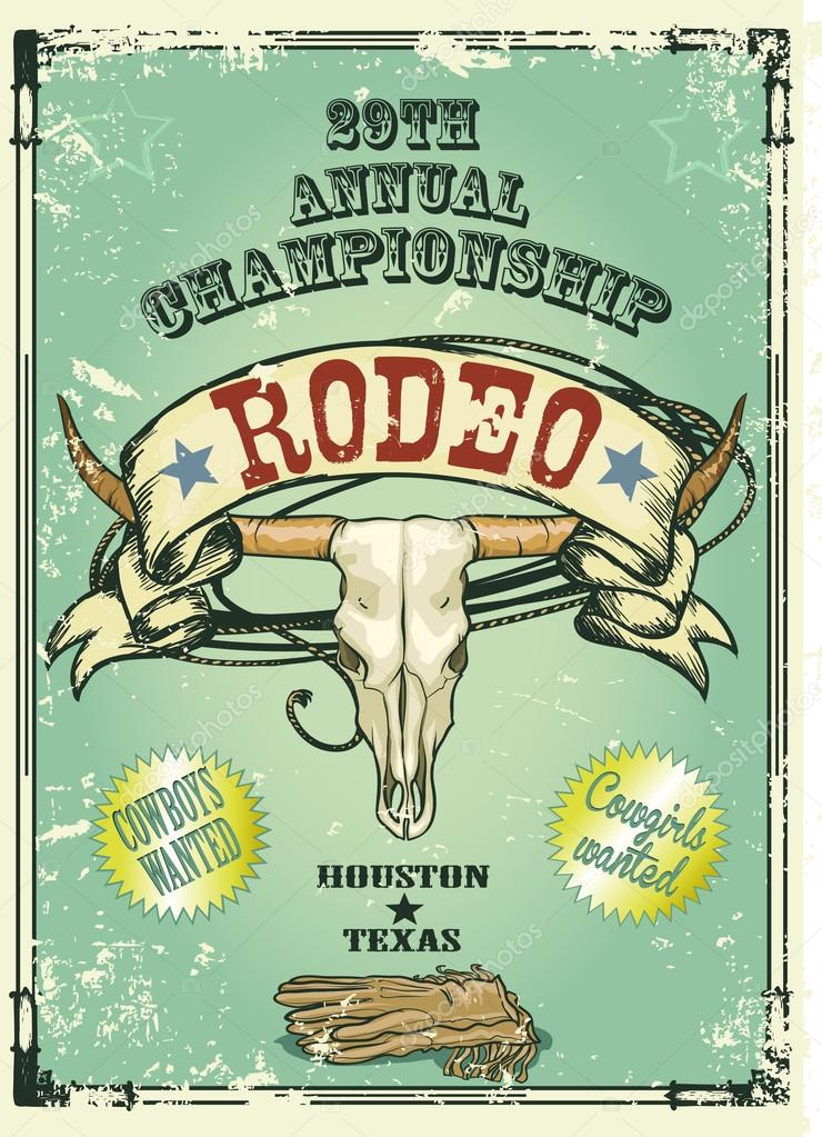 Retro style Rodeo Championship poster with longhorn skull