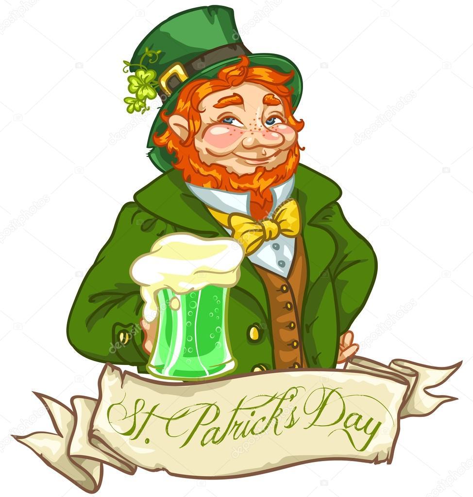Lutin Irlandais Homme Avec De La Bire Jour St Patrick