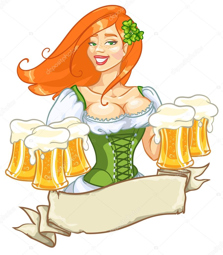 Girl with beer, St. Patrick's Day