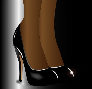 A pair of ladies legs in stiletto heel shoes clip art vector