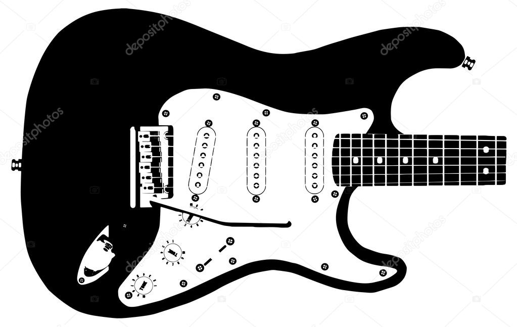 Drawing Of A Modern Rock Guitar Isolated On White Background Vector By BigAlBaloo
