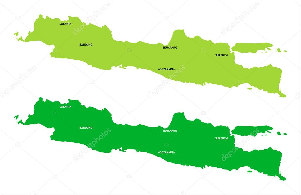 Two green map of java island indonesia