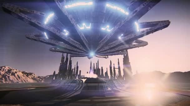 létající talíř v futuristického města
