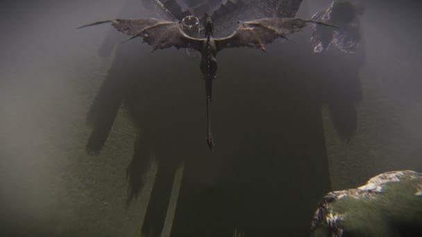 Drak létající nad vesnicí