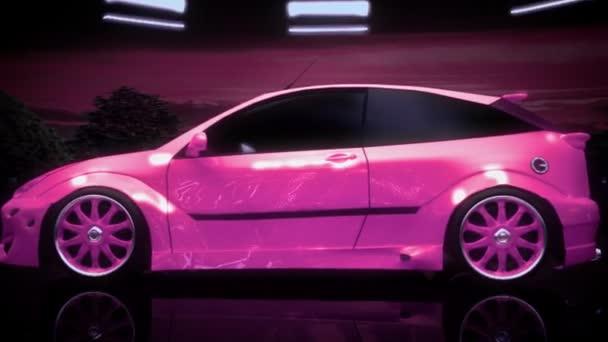 Tuning růžové auto