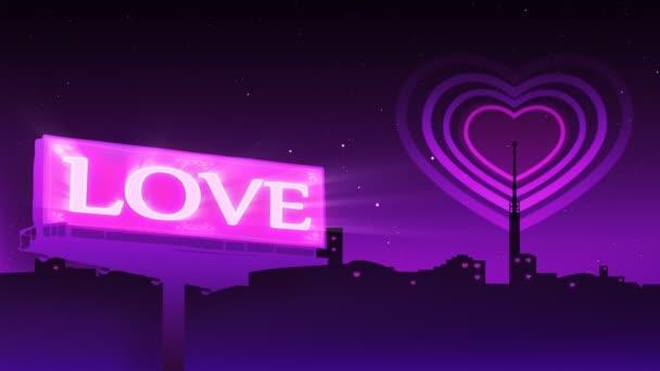 srdce tvar emisí v městě a billboard