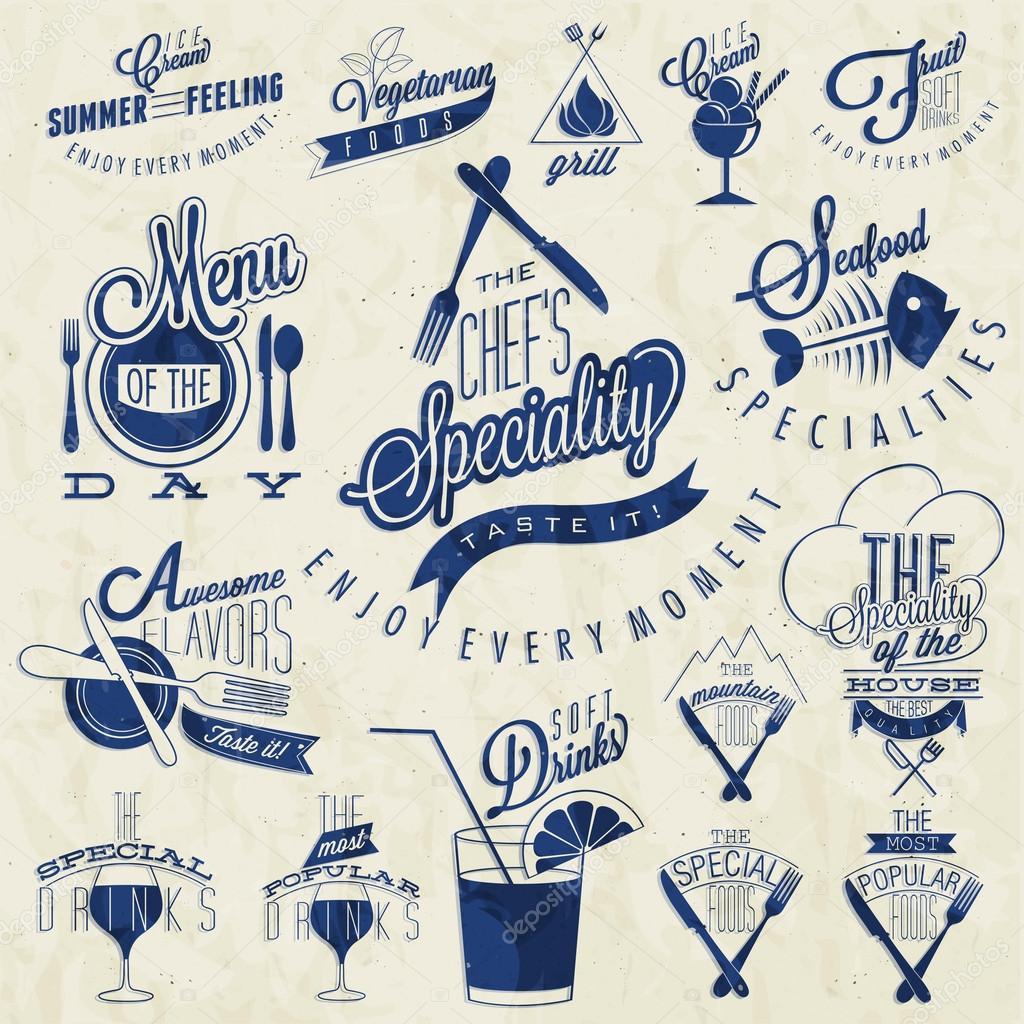 Retro vintage style restaurant menu designs.