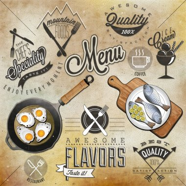 Retro vintage style restaurant menu designs.