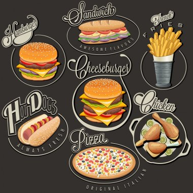 Set of Calligraphic titles and symbols for foods. Pizza, Sandwich, Hot Dog, French Fries, Hamburger, Cheeseburger and Drumstick realistic illustrations. stock vector