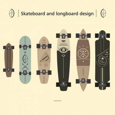 Design options skateboard and longboard stock vector
