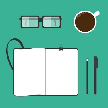 Coffee cup, notebook, glasses, pen, pencil