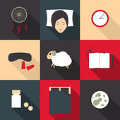 Set of colored icons on a theme of deep sleep in a flat style