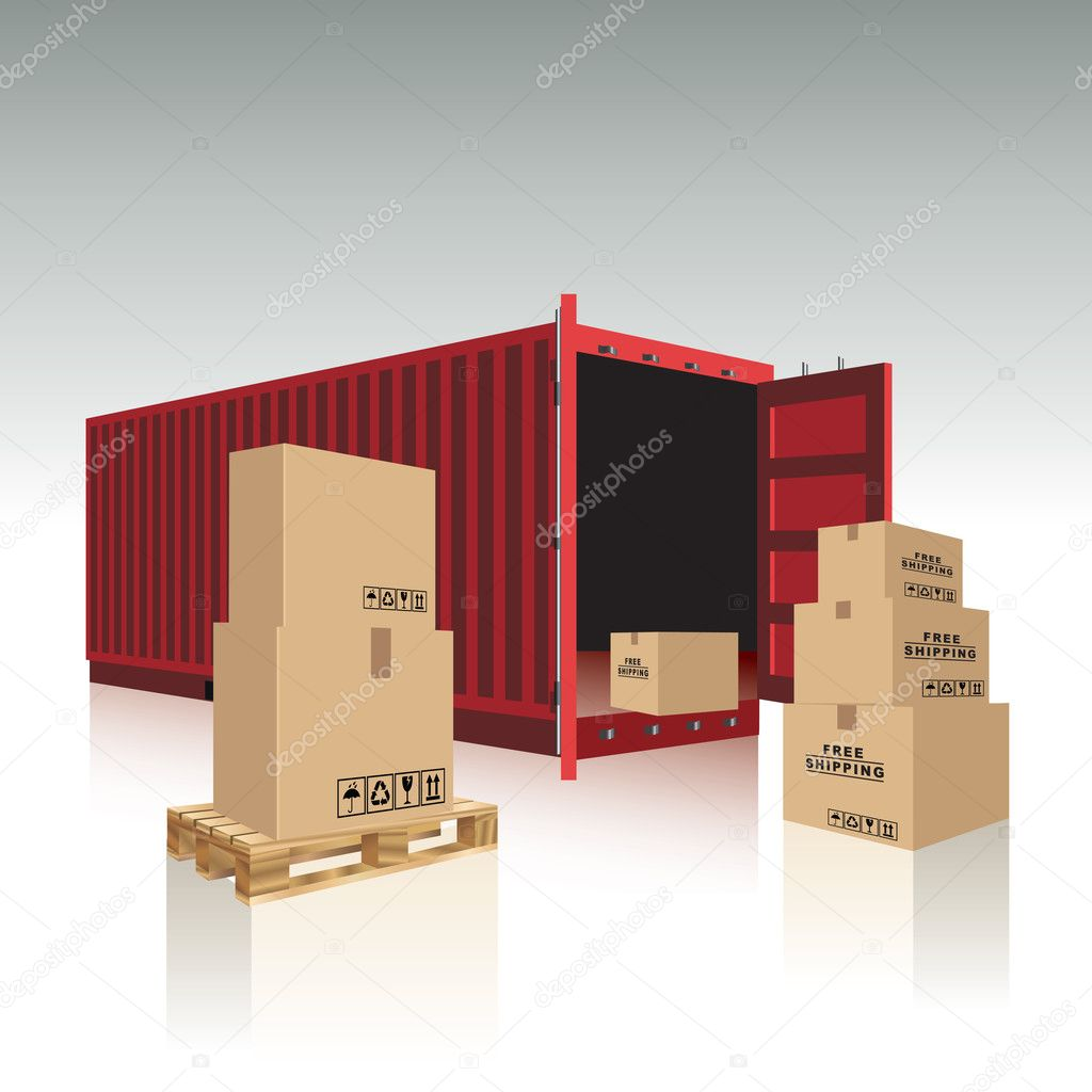 Container and cardboard boxes