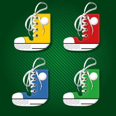 Vector letters form of sport footwear J