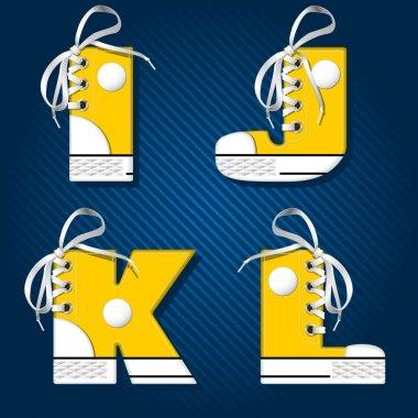 Vector letters  in form of sport footwear