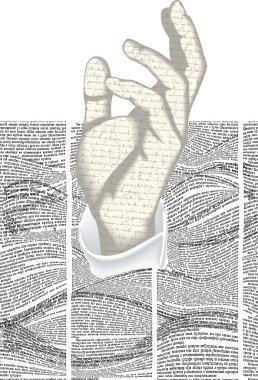 Newspaper hand