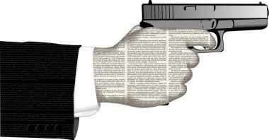 hand  of newspaper columns   with gun.