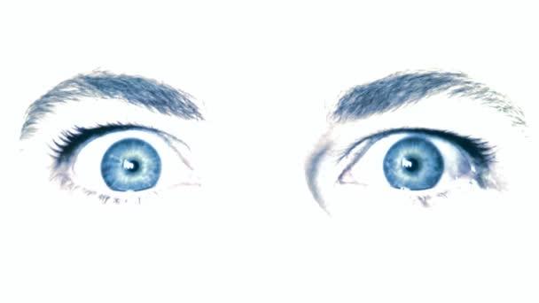 modré oči v zblízka