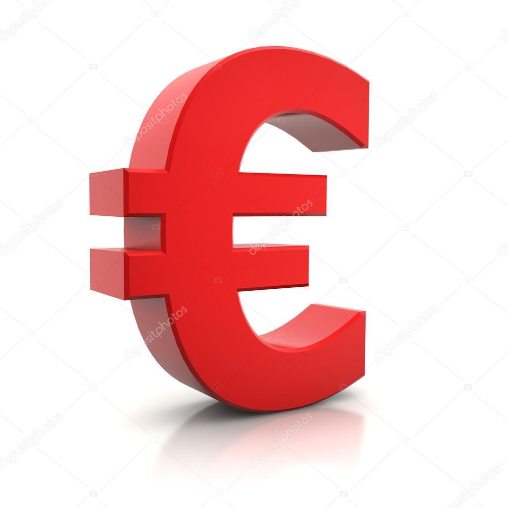 517932f50 3D znak euro czerwony na białym tle nad białym — Zdjęcie od ...