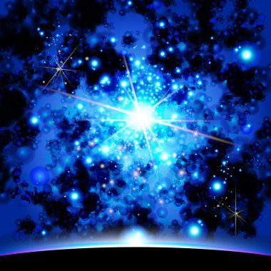 Earth and galaxy. Elements of this image furnished