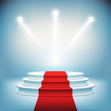 Illuminated stage podium for award ceremony vector