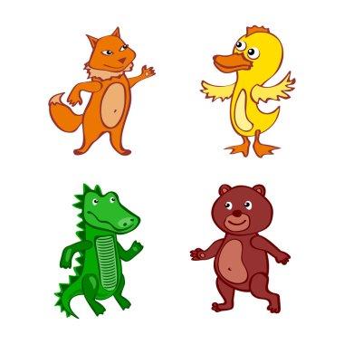 Hand-drawn cartoon vector wild set illustration duck fox bear Crocodile