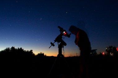 Astronomer looking through a telescope