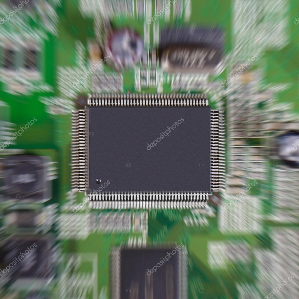 Zoom Effect On Microchip Stock Photo Gammaburst 44694889 Electronic Integrated Circuit Chip Royalty Free Image Or Mounted In A Green Printed Board Processor Is At The Center Of