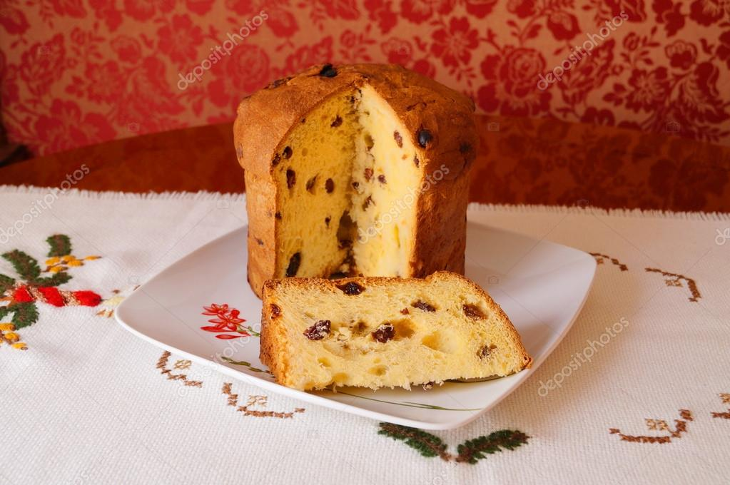 Christmas Italian Brown Fruit Cake Called Panettone Flavoured With Currants Partially Sliced Photo By Gammaburst