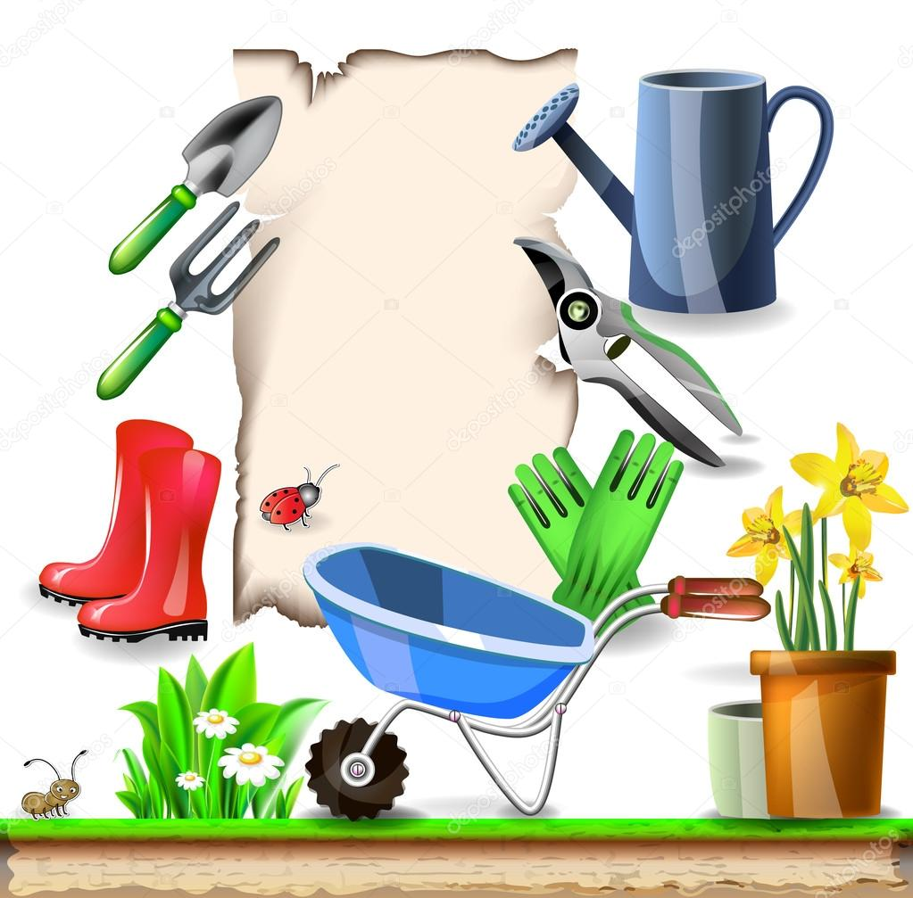Summer garden tools with note paper