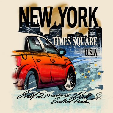 Painted red car on a night in New York. USA. Drawing hand. Rain, puddle, splashing water. Pencil drawing and watercolor. City landscape. A vivid illustration on a old beige background. Urban style