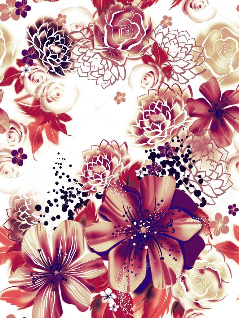 ... la technique de l aquarelle. fond d écran avec roses, marguerites et  mimosa. images décoratives russes. carte de voeux de vacances. foulard en  soie, ... c419c99decb