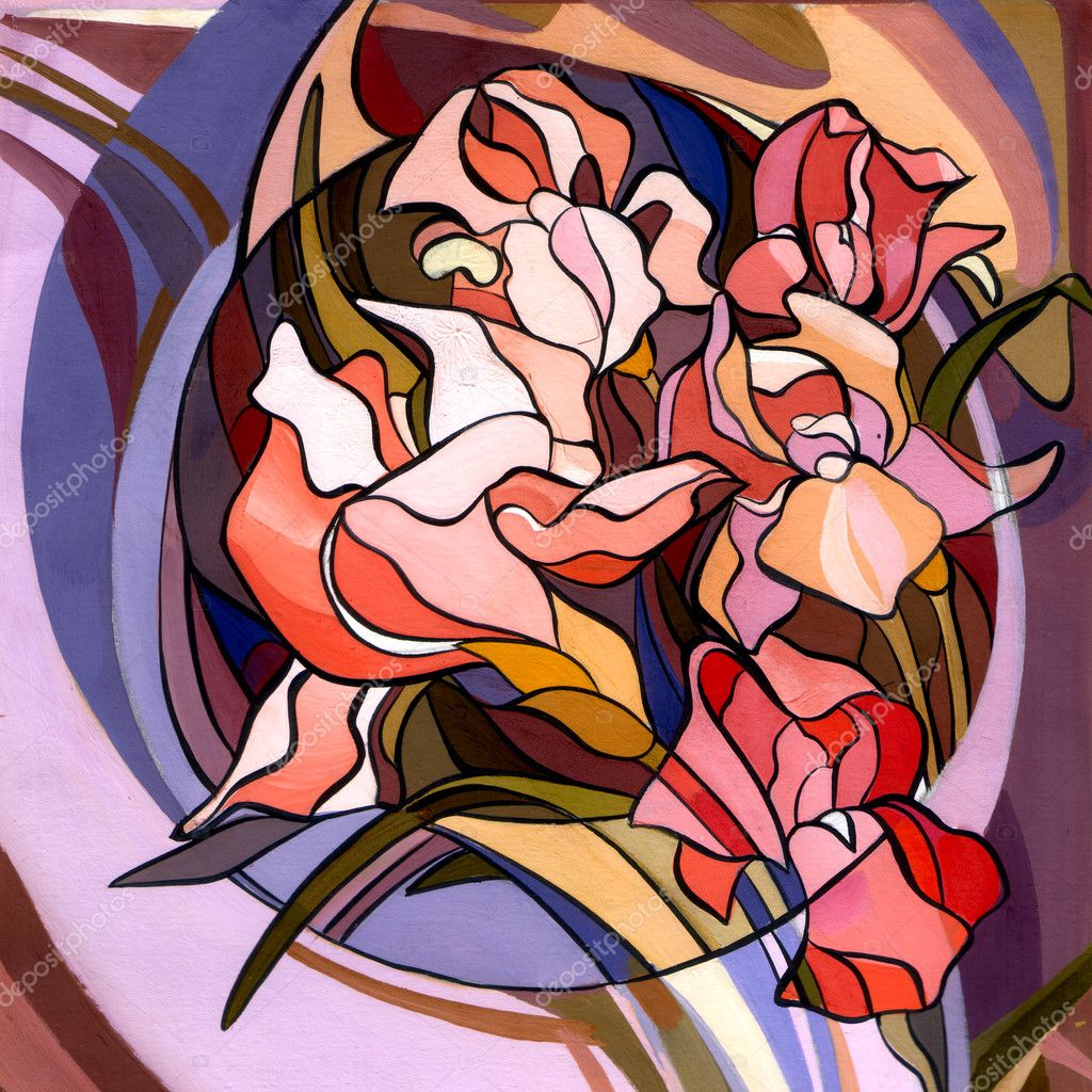 Colored illustration of flowers in the Art Nouveau style, modern