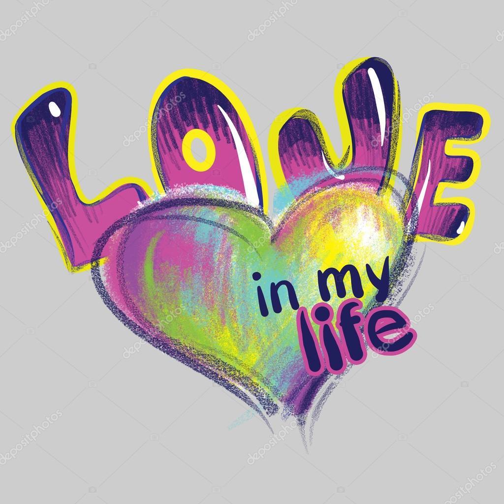 Corazón y la palabra amor dibujado con tizas de colores imagen de stock