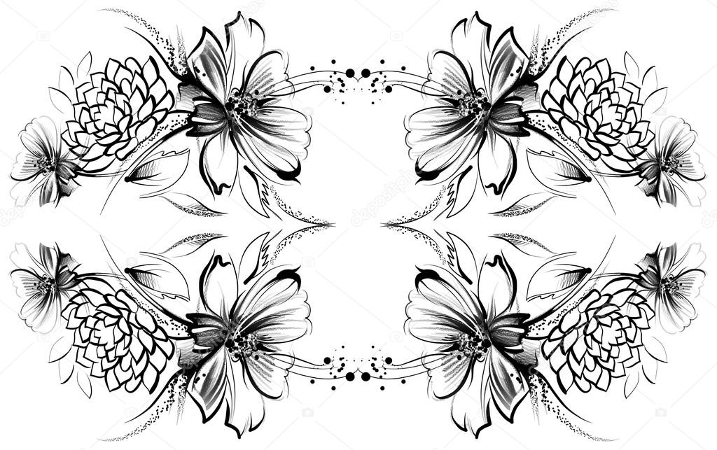 Fleurs Dessin Avec Crayon Simple Et Charbon Sur Vieux Papier Blanc