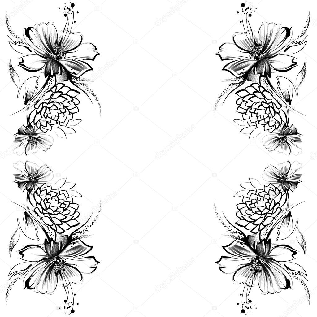 Blumen Zeichnung Mit Einfachen Bleistift Und Kohle Auf Alten Weißem