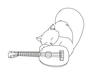 Hand drawn cat playing ukulele