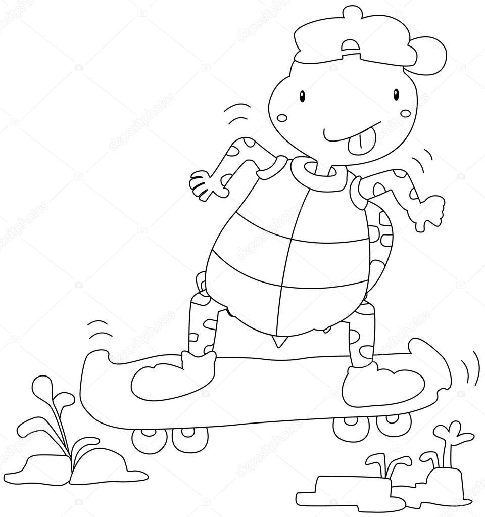 Bir Kaplumbağa Oyna Kaykay çizimi Stok Vektör Jehsomwang 43431303