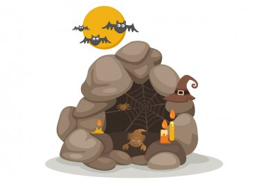 illustration of halloween cave vector