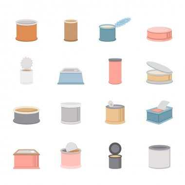 canned food icons vector eps10