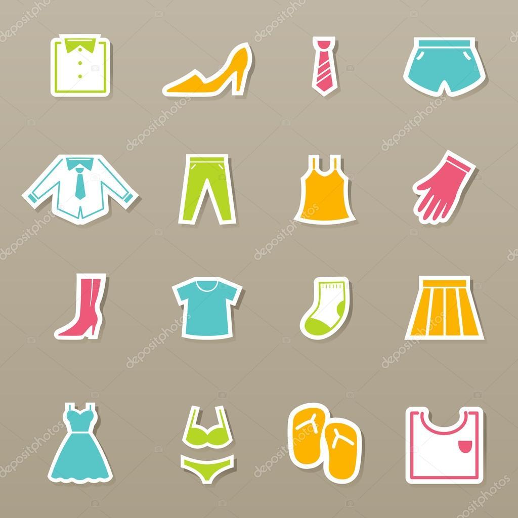 d637415dbd7 oblečení ikony nastavit vektor — Stock Vektor © jehsomwang  49416729
