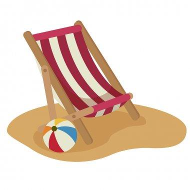 Beach chair and ball vector