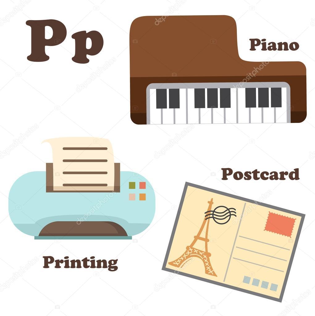 Alphabet P letter.Piano,Postcard,Printing