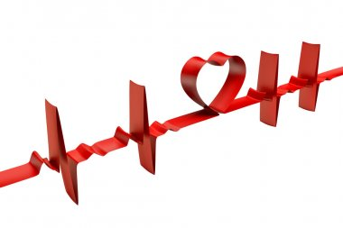 Very high resolution 3d rendering og an electrocardiogram made with a red ribbon. stock vector