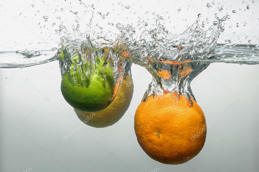 Fresh swimming fruits and vegetables