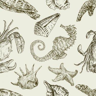 Sea creatures pattern