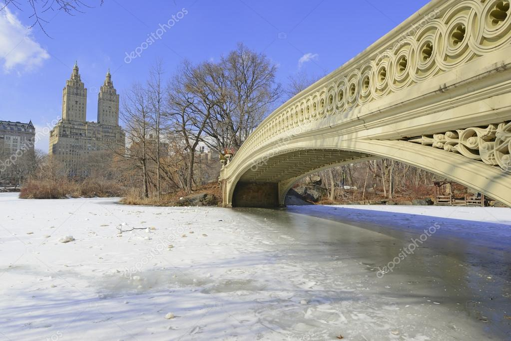 Central Park and the Bow Bridge in the Snow, Manhattan New York