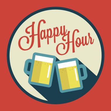 Happy hour illustration with beer over vintage background